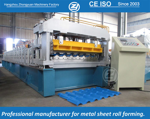 China High Speed European Structure Metrocop Tile Roll Forming Machine Working Speed 5-6m/min,automatic machine supplier