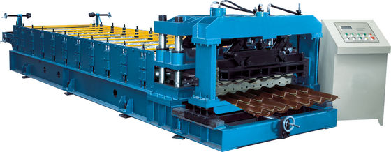 Cr12 Mould Steel Cutter Glazed tile roll forming machine 5.5KW ISO9001 with high production speed